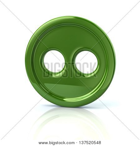 3D Illustration Of Green Sewing Button