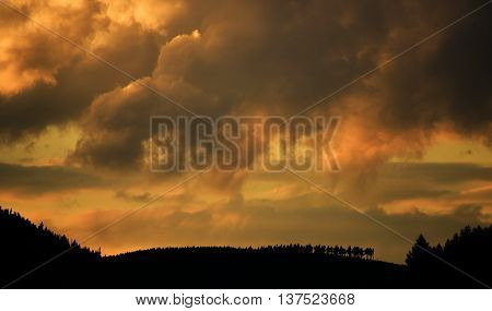 Sunset in evening in Jeseniky mountains