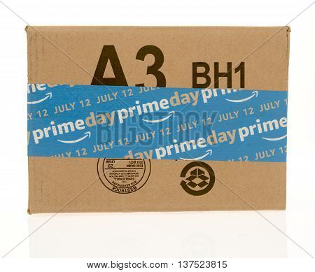 Winneconnie WI - 5 July 2016: Amazon box with Amazon prime day advertising for July 12 on an isolated background.