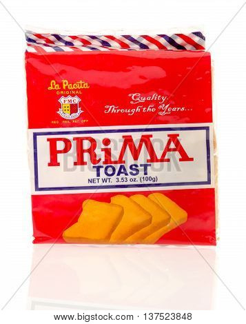 Winneconnie WI - 7 July 2016: Package of prima toast on an isolated background.