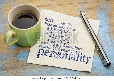 personality and character word cloud - handwriting on a napkin with a cup of coffee