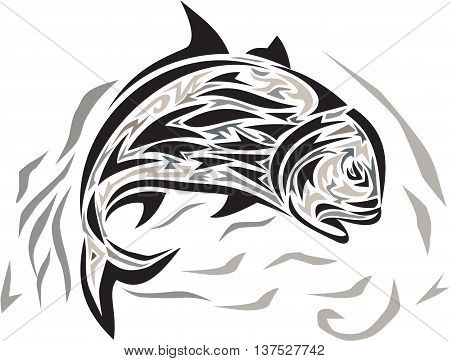 Tribal art style illustration of a giant trevally Caranx ignobilis also known as giant kingfish lowly trevally barrier trevally or ulua a species of large marine fish in the jack family Carangidae jumping diving down viewed from the side set on isolated w