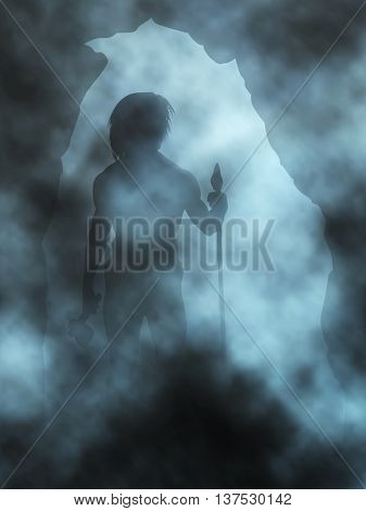 Editable vector illustration of a neanderthal man standing in a misty cave entrance made with gradient meshes