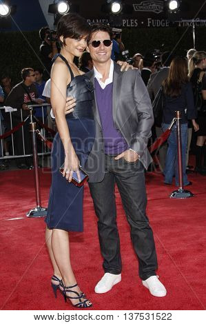 Tom Cruise and Katie Holmes at the Los Angeles premiere of 'Tropic Thunder' held at the Mann Village Theater in Westwood, USA on August 11, 2008.