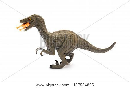 side view Deinonychus biting a smaller dinosaur on a white background