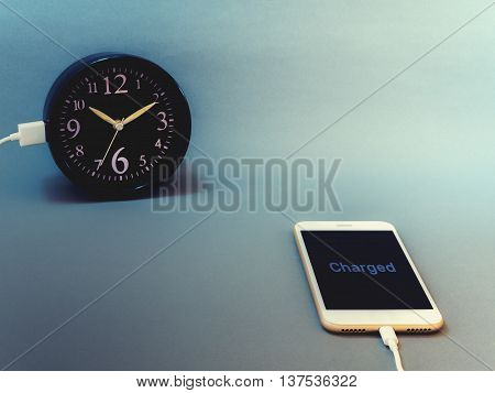 Smart phone charging time from clock with text
