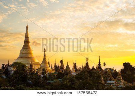 Closeup Shwedagon pagoda at sunset Yangon Myanmar