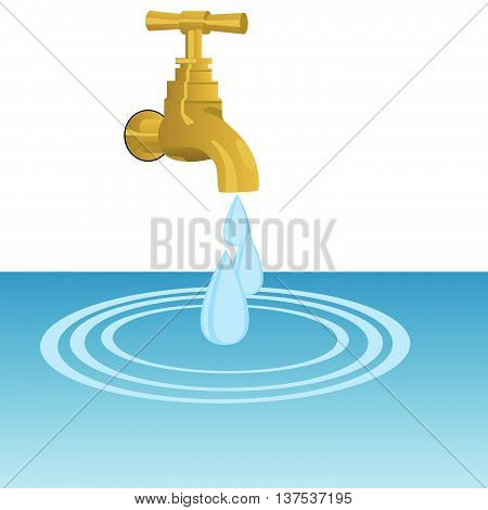 Water tap and water drops. The illustration on a white background.