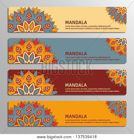 Colorful set of ornamental banners with flower mandala in beige blue vinous orange colors. Vintage decorative elements. Vector illustration.