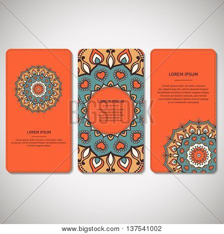 Set of ornamental cards flyers with flower mandala in orange turquoise colors. Vintage decorative elements. Indian asian arabic islamic ottoman motif. Vector illustration.