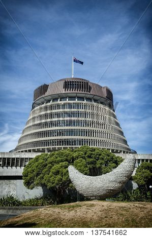 Wellington, New Zealand - March 3 2016: The Beehive is the common name for the Executive Wing of the New Zealand Parliament Buildings located at the corner of Molesworth Street and Lambton Quay Wellington.