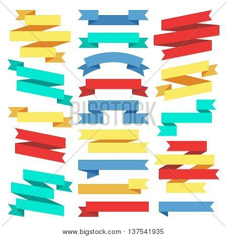 Flat banners ribbons web stickers stock vector. Ribbon banner in flat style, illustration element color ribbon for label or sticker