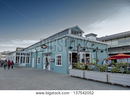 Wellington, New Zealand - March 3 2016: Restaurant on Wellington waterfront, north island of New Zealand