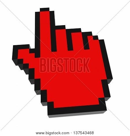 Hand Cursor Pixelated Red Computer Pointer 3D Illustration