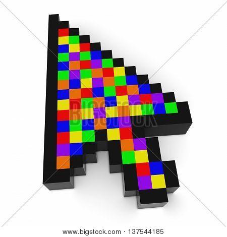 Arrow Cursor Pixelated Multicoloured Computer Pointer 3D Illustration