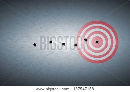 bullet hole on target. metal background. concept design.