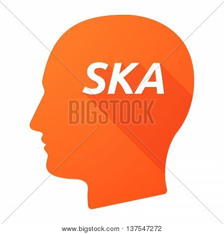Isolated Long Shadow Male Head With    The Text Ska
