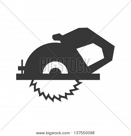 Constuction and repair concept represented by electric saw tool icon. isolated and flat illustration