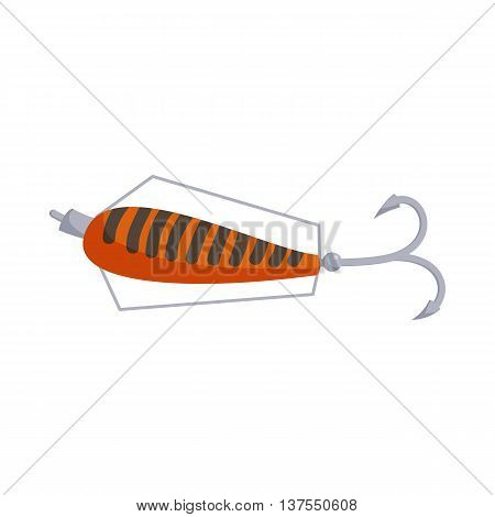 Fishing lure icon in cartoon style isolated on white background. Tools symbol