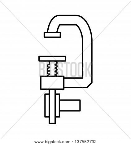 Constuction and repair concept represented by clamp tool icon. isolated and flat illustration