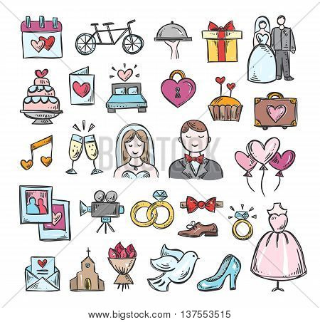 Wedding hand drawn icons. Marriage love wedding symbols: bride and groom, honeymoon, celebration sketch illustrations