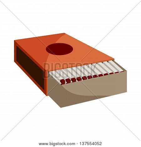 Box of matches icon in cartoon style isolated on white background. Arson symbol