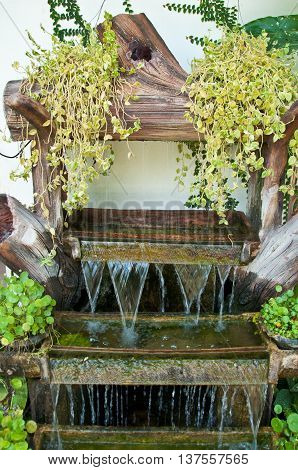 Mini waterfall in garden at home, Thai style home