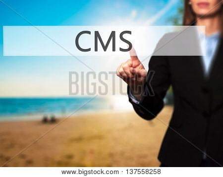 Cms - Successful Businesswoman Making Use Of Innovative Technologies And Finger Pressing Button.