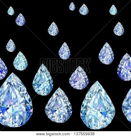 Seamless pattern with Crystal. jewelry background Watercolor Crystal illustration. jewelry Crystal background