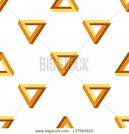 Seamless Triangles Pattern. Impossible Orange Triangle Background