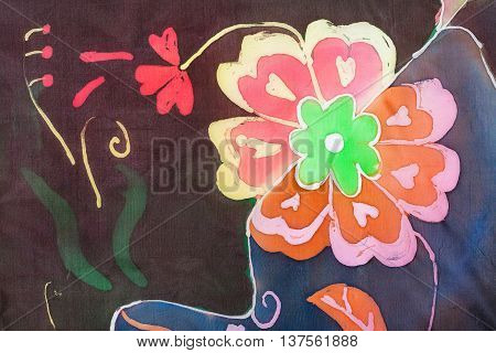 Painted Flower In The Technique Of Hot Batik