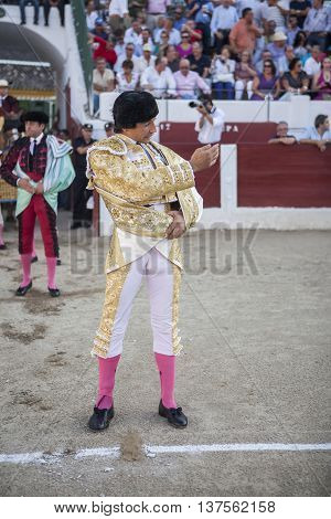 Linares SPAIN - August 29 2014: The Spanish Bullfighter Curro Diaz initiating the paseíllo in the bullring in Linares Jaen province Spain