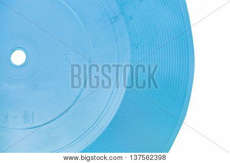 blue transparent flexi disc close up isolated on white background