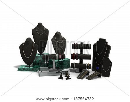 Stand For Jewelry In The Jewelry Display Cases 3D Illustration On White