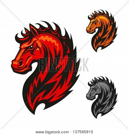 Fire horse or devil stallion symbol with head of an angry horse with orange and red flaming mane. For sport team mascot or t-shirt print design poster