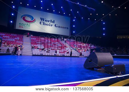 Sochi, Russia - July 6: Bolshoy Ice Dome on June 06, 2016 in Sochi, Russia rehearsal on stage for World Choir Games 2016