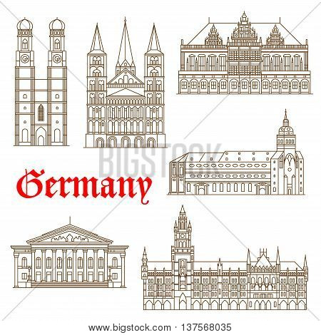 Famous german architectural travel landmarks thin line symbol with tourist attractions of Munich such as National Theatre and New Town Hall, St. Peter Church and Frauenkirche Cathedral also Bonn Cathedral and Bremen Town Hall