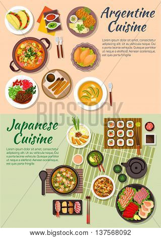 Japanese sushi and sashimi with argentine empanadas and tortillas symbol, miso soup and seafood cazuela, tofu and shrimp soup with beef shank and pork chop, beef with mushrooms and avocado soup, green tea and hot chocolate with churros