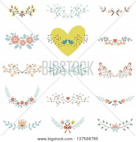 Set of floral elements with branches, leaves, flowers, birds and hearts, isolated on white background. Good for spring and summer greeting cards, scrapbook, floral laurels, logos and wedding graphic design. Vector illustration.