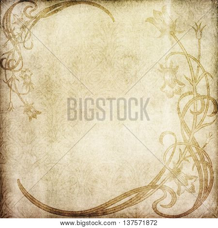 Vintage paper with decorative floral patterns old-fashioned ornament and space for the text. Vintage paper texture.