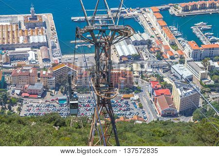 Aerial view of the top of Gibraltar Rock, located in the Upper Rock Natural Reserve, and the famous Cable car. Gibraltar is a territory of South West Europe which is part of the United Kingdom.