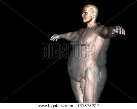 Concept conceptual 3D fat overweight vs slim fit diet with muscles young man isolated on black background metaphor weight loss, body, fitness, fatness, obesity, health, healthy, male, dieting, shape