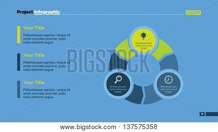 Three parts diagram. Element of brochure, presentation, chart. Concept for business infographics, presentation templates, reports. Can be used for topics like marketing, flowchart, business analysis