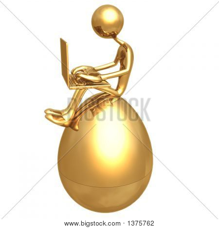 Online Investment Sitting On Gold Nest Egg With Laptop