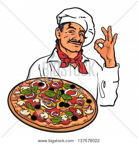 Smiling Italian chef holding pizza in his hand, sketch style vector illustration isolated on white background. Sketch of charming Italian chef serving pizza
