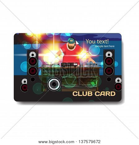 Vector summer party flyer disco style. Night beach dj with sound system template posters invitation.