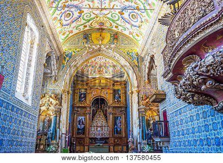 Coimbra Portugal - June 21 2016. Capela de Sao Miguel chapel of University of Coimbra. Portugal.