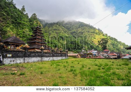 BALI, INDONESIA, 26 MAY, 2015: Hindu temple of Trunyan Village in Northern part of Bali Indonesia