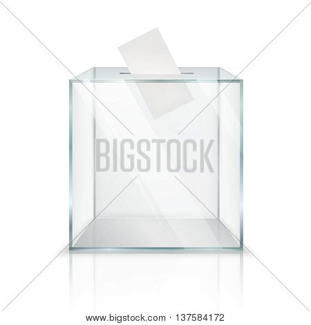 Realistic empty transparent ballot box with voting paper in hole on white background isolated vector illustration