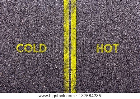 Tarmac background with the words cold and hot